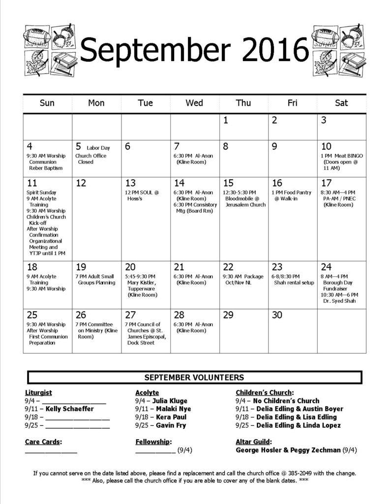 Calendar - September 2016