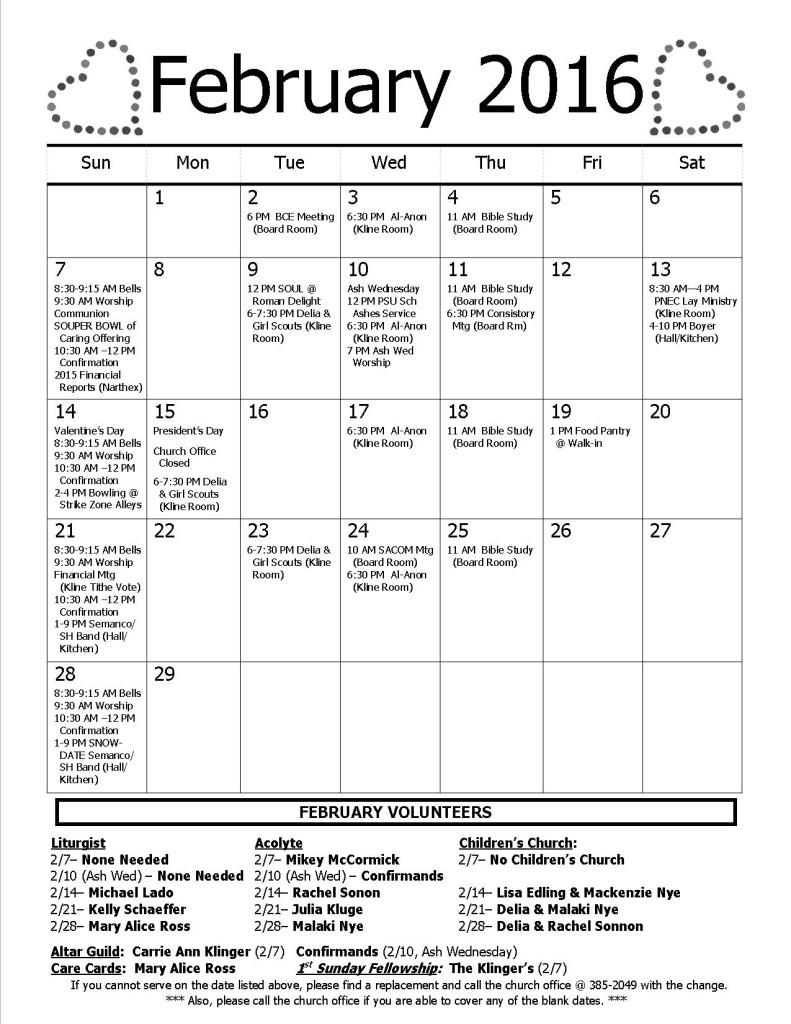 Calendar - February 2016